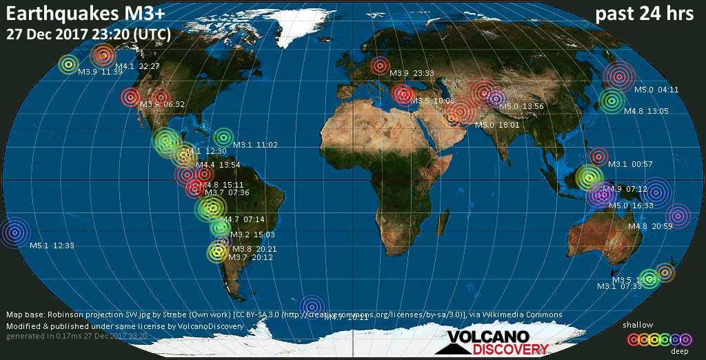 World map showing earthquakes above magnitude 3 during the past 24 hours on 27 Dec 2017
