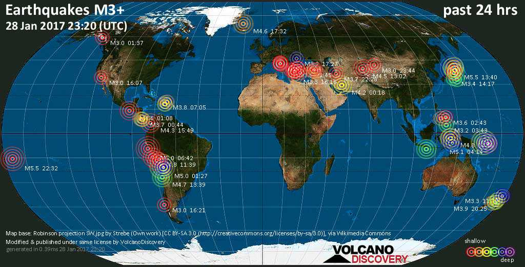 World map showing earthquakes above magnitude 3 during the past 24 hours on 28 Jan 2017