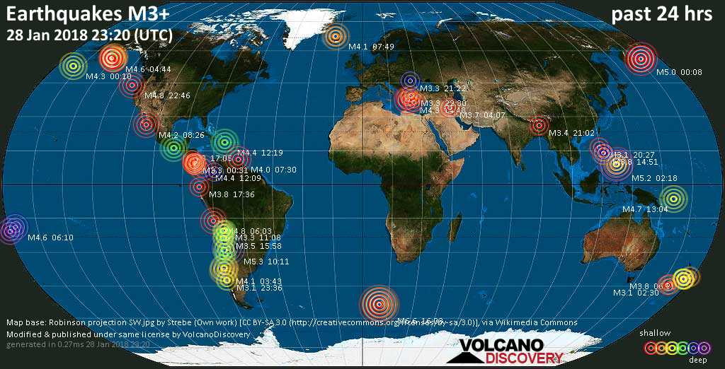 World map showing earthquakes above magnitude 3 during the past 24 hours on 28 Jan 2018