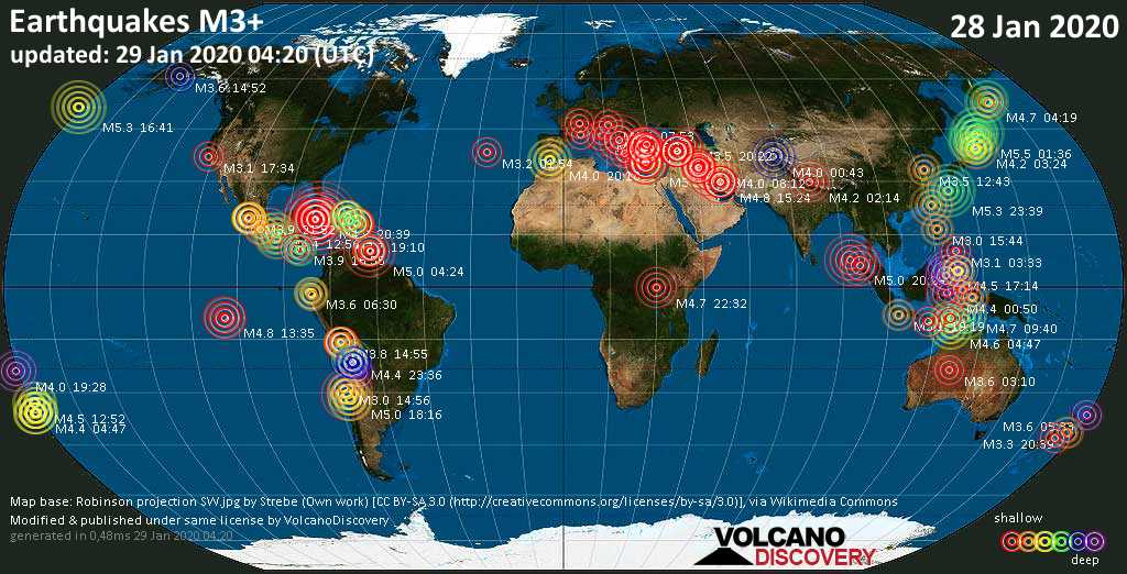 World map showing earthquakes above magnitude 3 during the past 24 hours on 29 Jan 2020