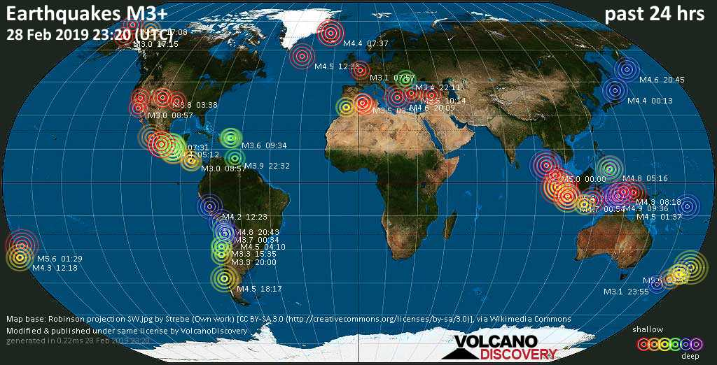 World map showing earthquakes above magnitude 3 during the past 24 hours on 28 Feb 2019