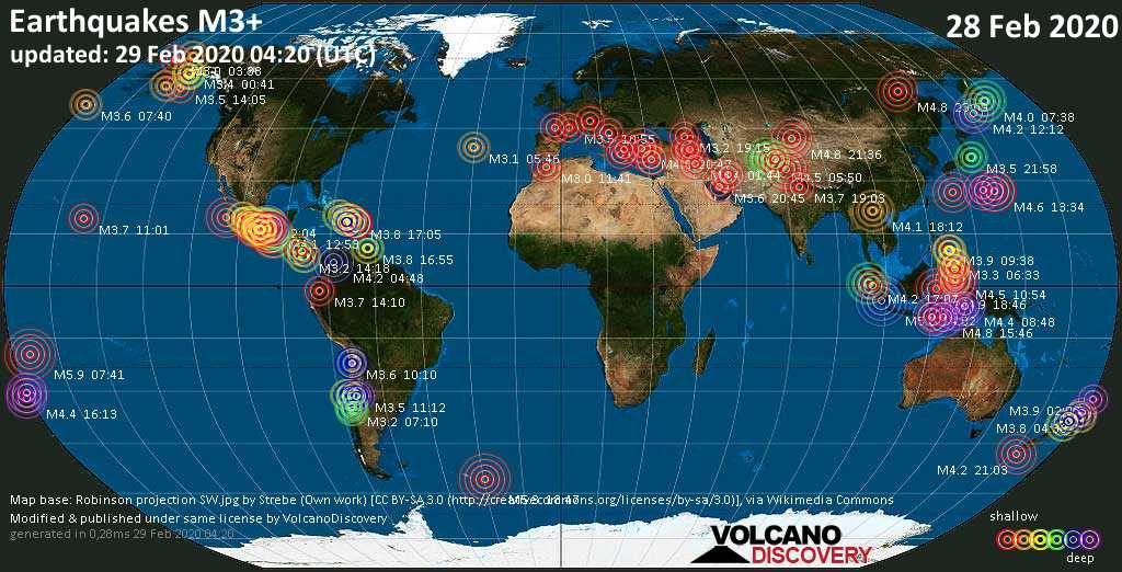 World map showing earthquakes above magnitude 3 during the past 24 hours on 29 Feb 2020