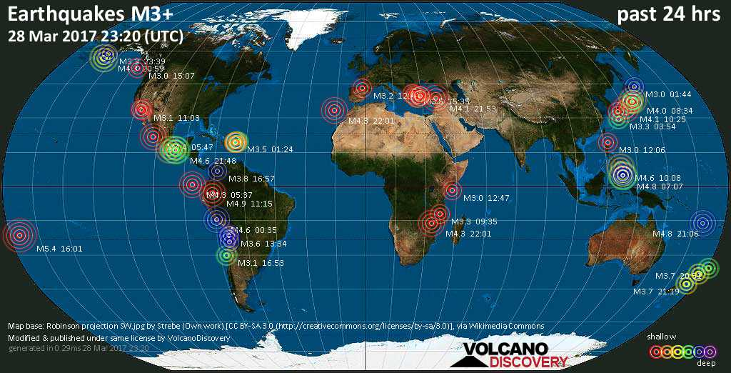 World map showing earthquakes above magnitude 3 during the past 24 hours on 28 Mar 2017