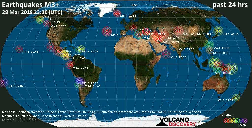 World map showing earthquakes above magnitude 3 during the past 24 hours on 28 Mar 2018