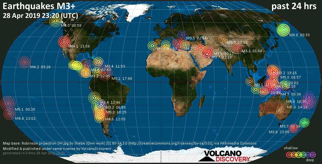 World map showing earthquakes above magnitude 3 during the past 24 hours on 28 Apr 2019