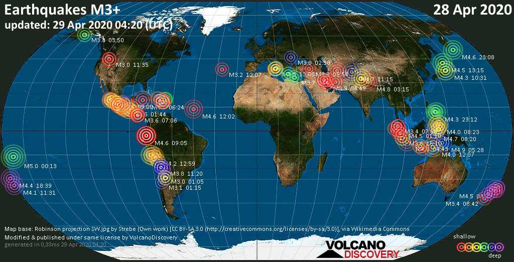World map showing earthquakes above magnitude 3 during the past 24 hours on 29 Apr 2020
