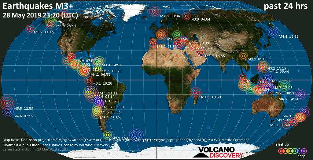 World map showing earthquakes above magnitude 3 during the past 24 hours on 28 May 2019