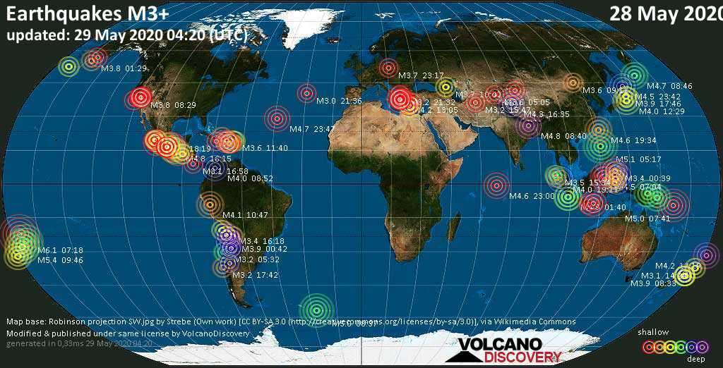 World map showing earthquakes above magnitude 3 during the past 24 hours on 29 May 2020