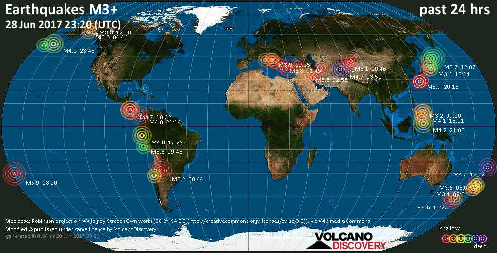 World map showing earthquakes above magnitude 3 during the past 24 hours on 28 Jun 2017