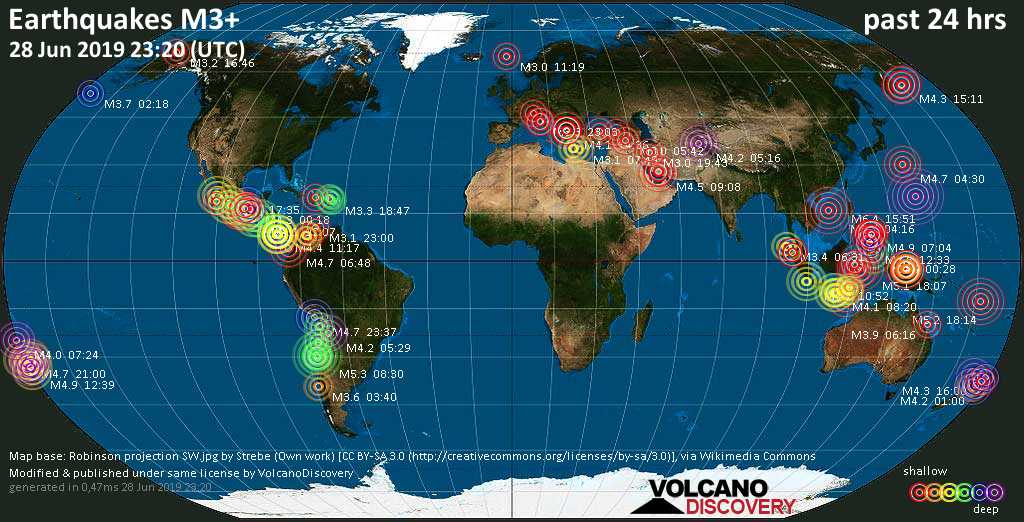 World map showing earthquakes above magnitude 3 during the past 24 hours on 28 Jun 2019