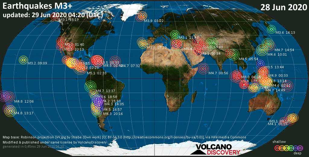 World map showing earthquakes above magnitude 3 during the past 24 hours on 28 Jun 2020