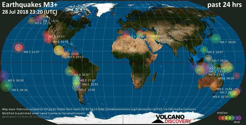 World map showing earthquakes above magnitude 3 during the past 24 hours on 28 Jul 2018