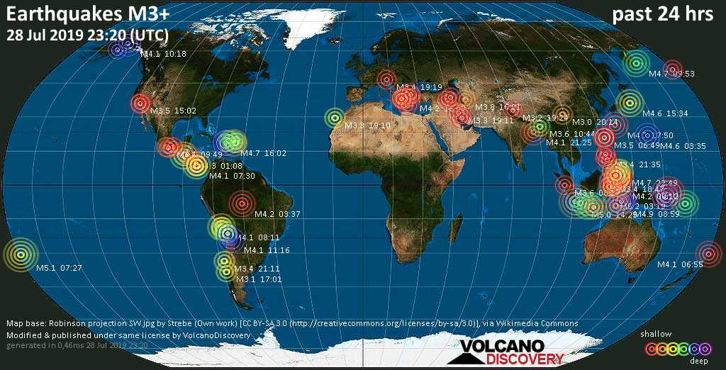 World map showing earthquakes above magnitude 3 during the past 24 hours on 28 Jul 2019