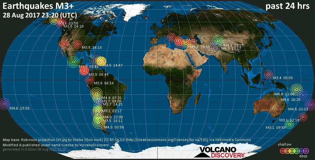 World map showing earthquakes above magnitude 3 during the past 24 hours on 28 Aug 2017