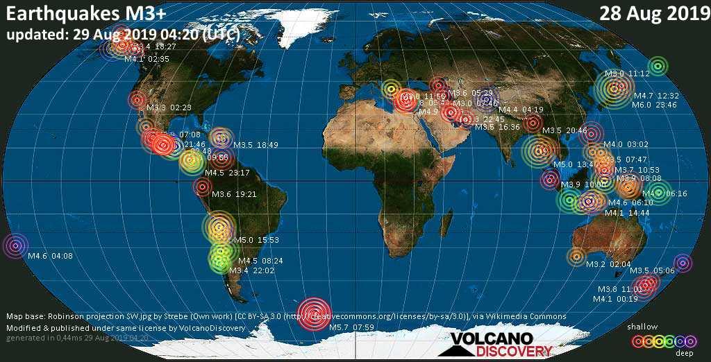 Weltkarte mit Erdbeben über Magnitude 3 während den letzten 24 Stunden past 24 hours am 29. August 2019