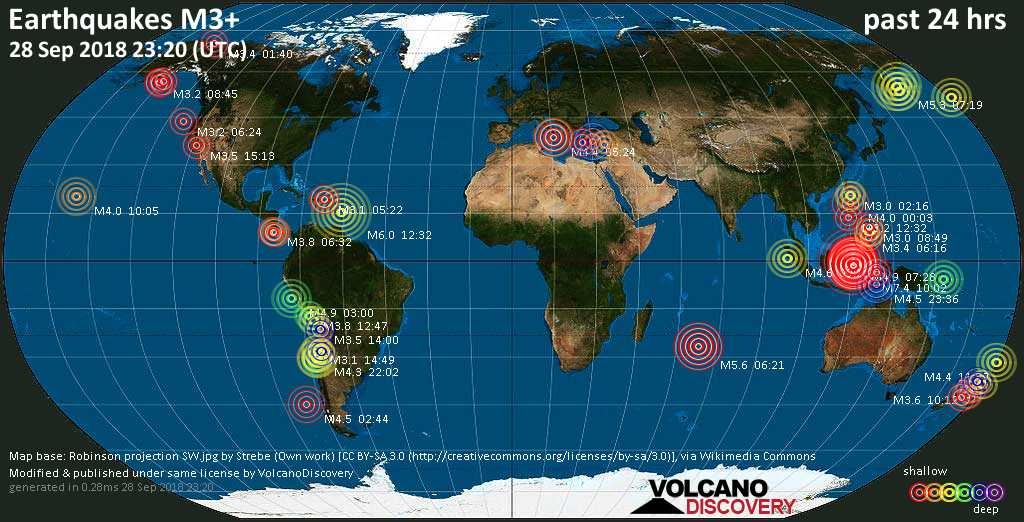 World map showing earthquakes above magnitude 3 during the past 24 hours on 28 Sep 2018