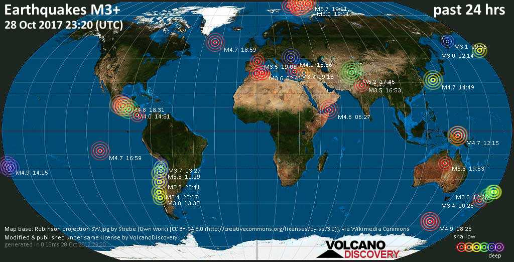 World map showing earthquakes above magnitude 3 during the past 24 hours on 28 Oct 2017