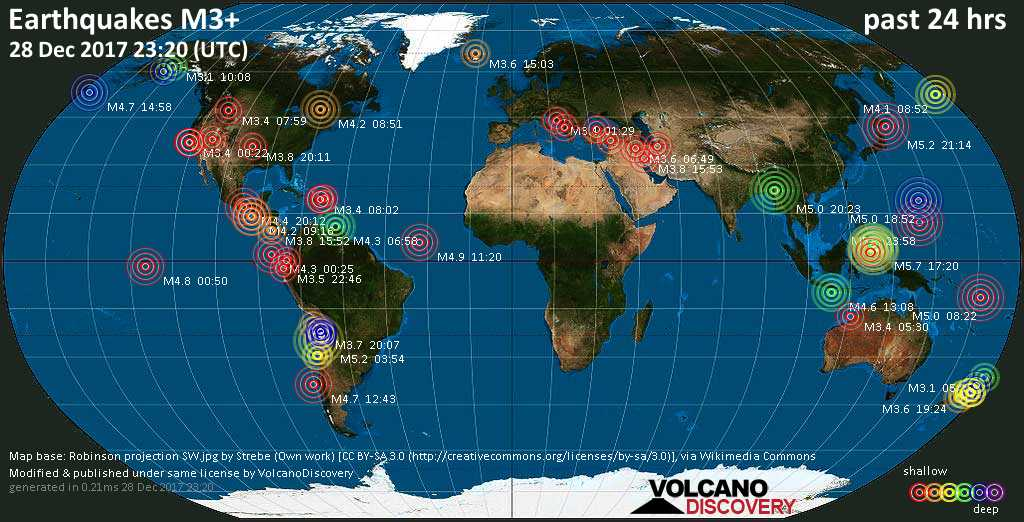 World map showing earthquakes above magnitude 3 during the past 24 hours on 28 Dec 2017