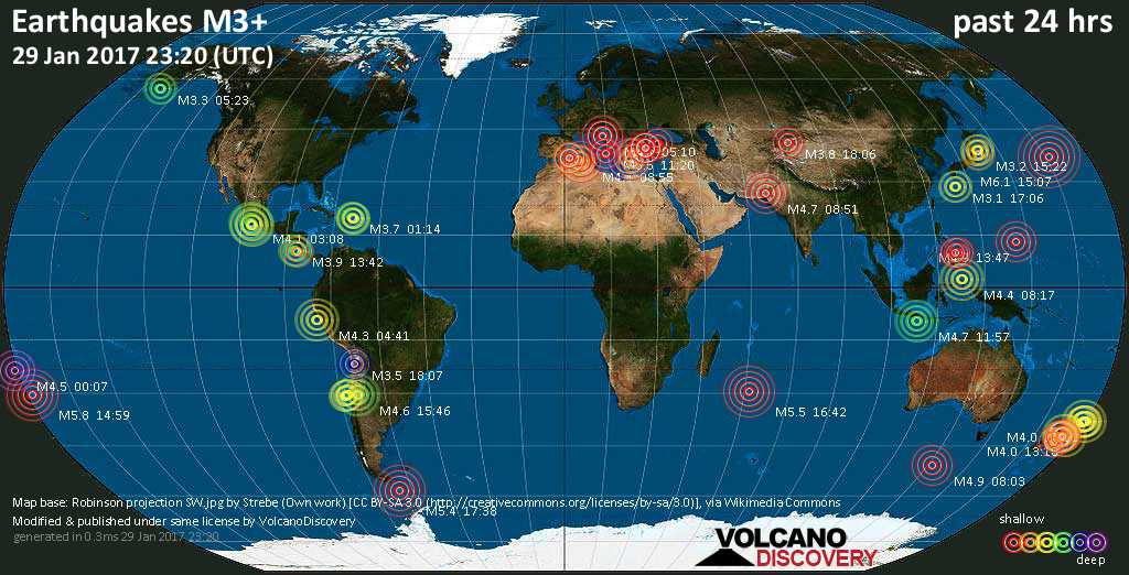 World map showing earthquakes above magnitude 3 during the past 24 hours on 29 Jan 2017