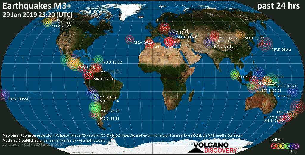 World map showing earthquakes above magnitude 3 during the past 24 hours on 29 Jan 2019