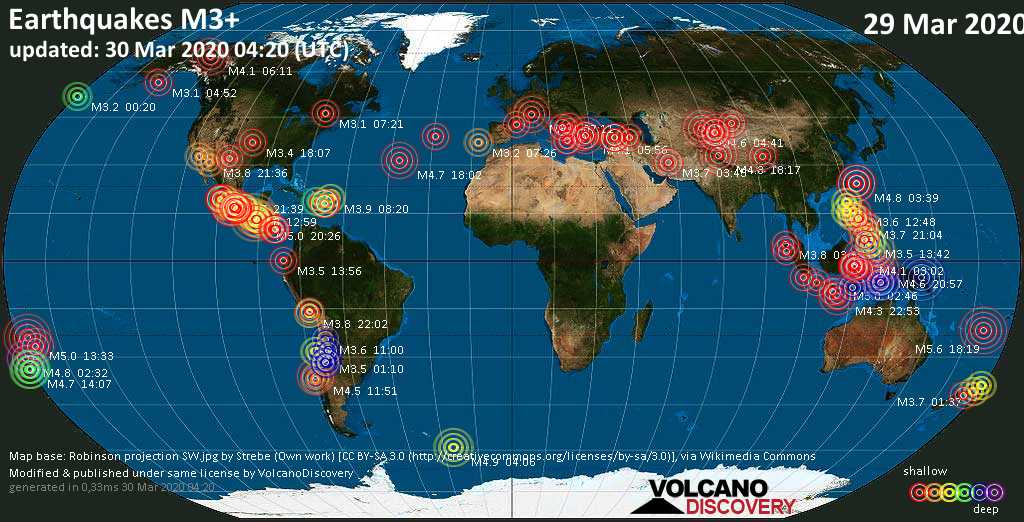 World map showing earthquakes above magnitude 3 during the past 24 hours on 29 Mar 2020