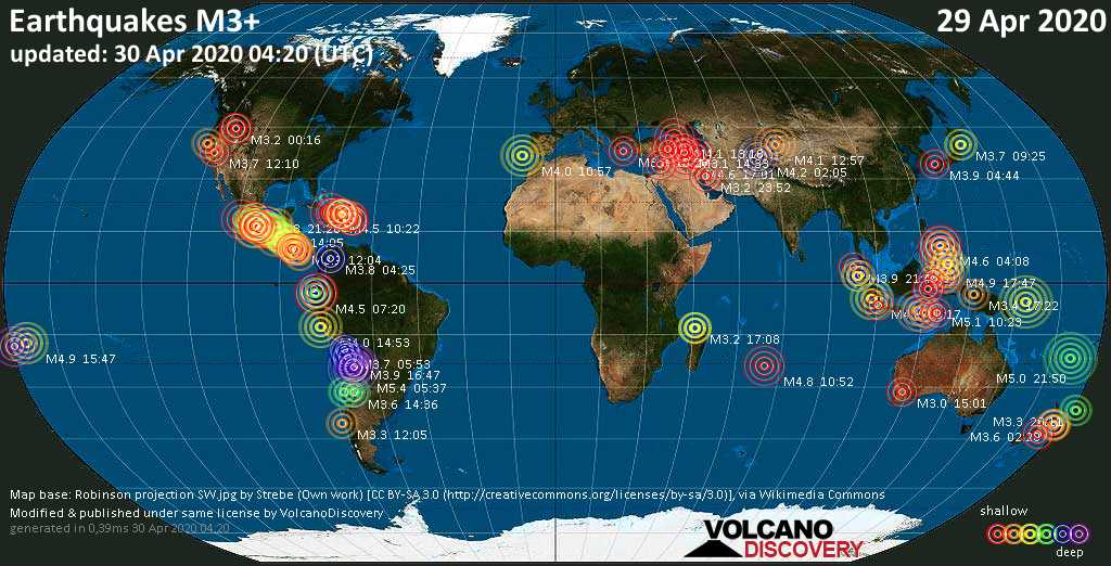 World map showing earthquakes above magnitude 3 during the past 24 hours on 30 Apr 2020