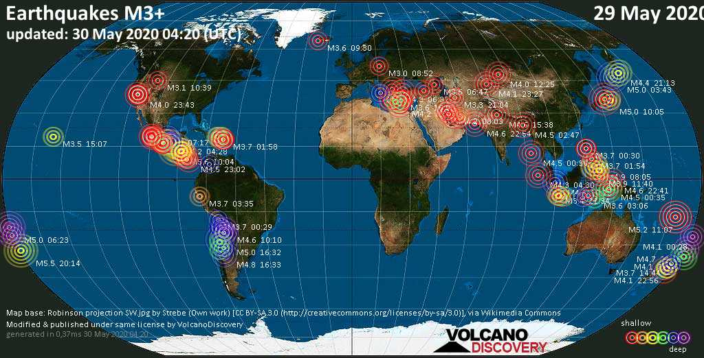 World map showing earthquakes above magnitude 3 during the past 24 hours on 30 May 2020