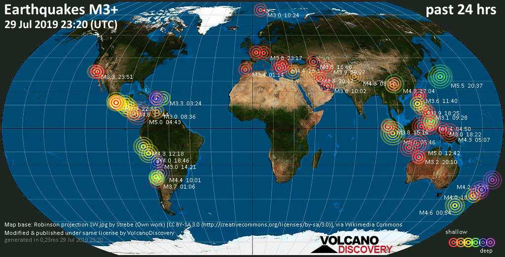 World map showing earthquakes above magnitude 3 during the past 24 hours on 29 Jul 2019