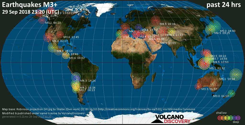 World map showing earthquakes above magnitude 3 during the past 24 hours on 29 Sep 2018