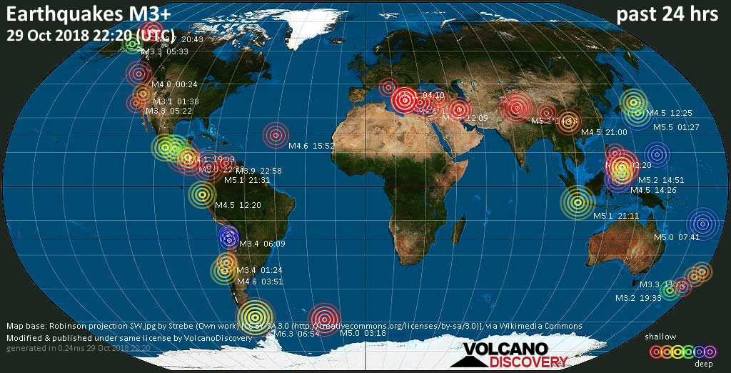 World map showing earthquakes above magnitude 3 during the past 24 hours on 29 Oct 2018