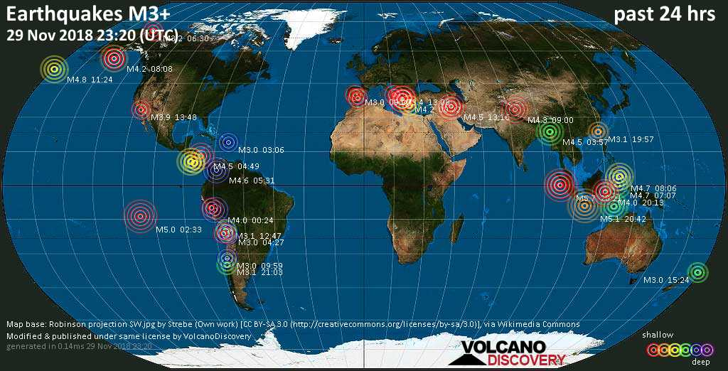 World map showing earthquakes above magnitude 3 during the past 24 hours on 29 Nov 2018