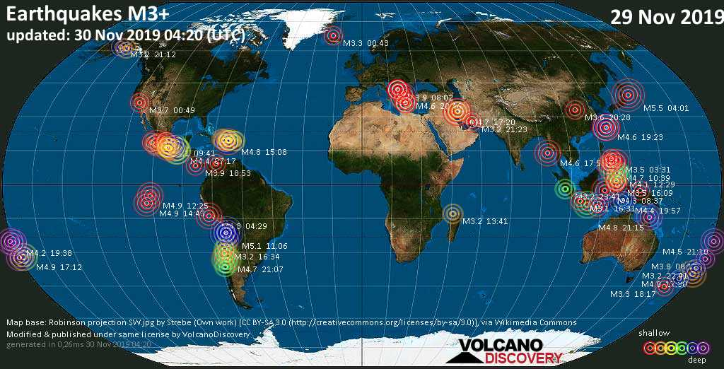 World map showing earthquakes above magnitude 3 during the past 24 hours on 30 Nov 2019