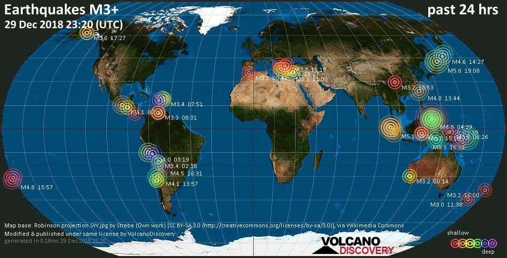 World map showing earthquakes above magnitude 3 during the past 24 hours on 29 Dec 2018