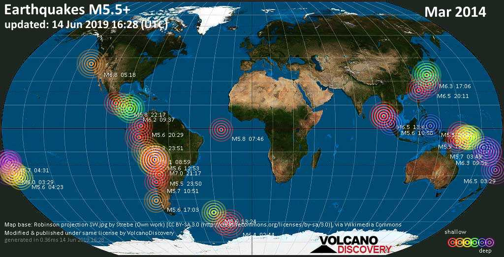 World map showing earthquakes above magnitude 5.5 during March 2014