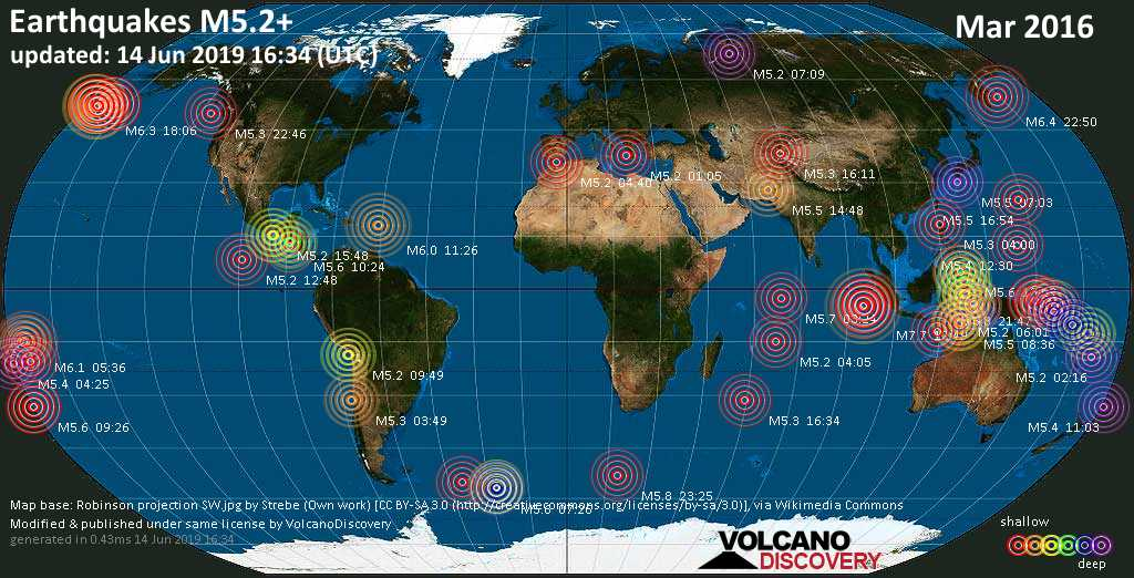 World map showing earthquakes above magnitude 5.2 during March 2016