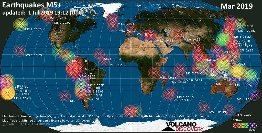 World map showing earthquakes above magnitude 5 during March 2019