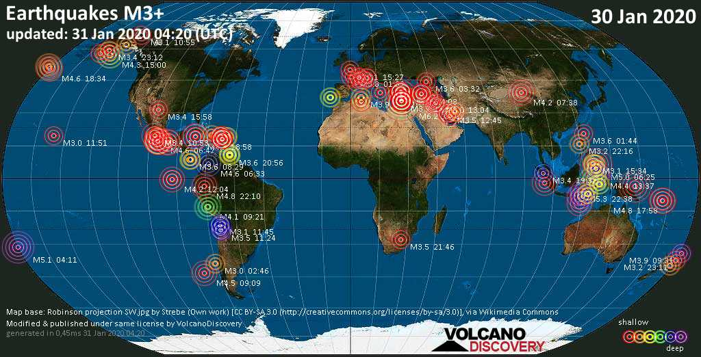 World map showing earthquakes above magnitude 3 during the past 24 hours on 31 Jan 2020
