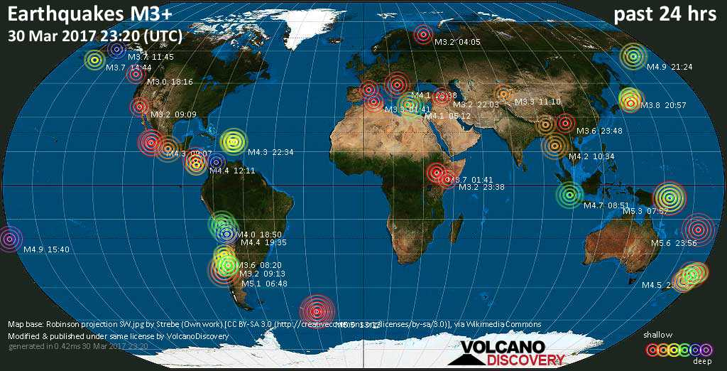 World map showing earthquakes above magnitude 3 during the past 24 hours on 30 Mar 2017