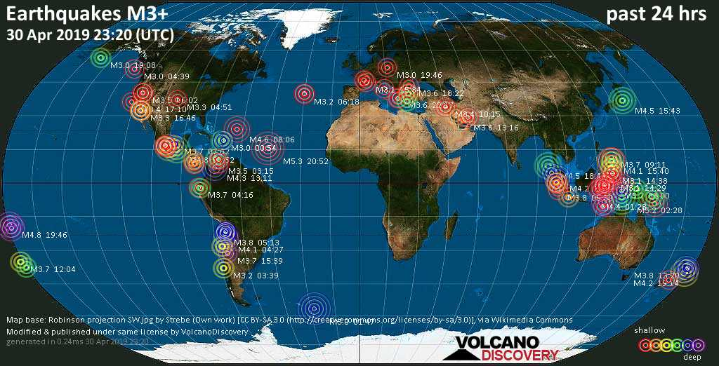 World map showing earthquakes above magnitude 3 during the past 24 hours on 30 Apr 2019