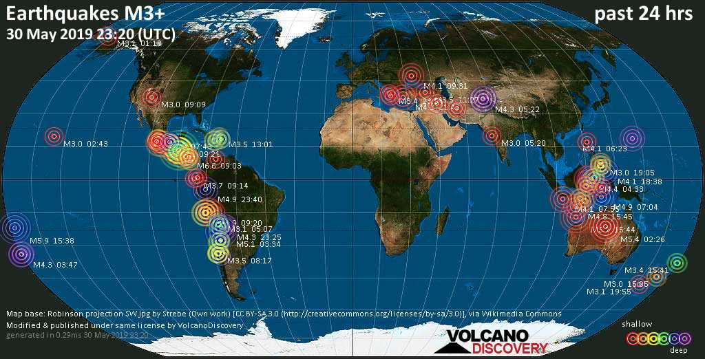 World map showing earthquakes above magnitude 3 during the past 24 hours on 30 May 2019