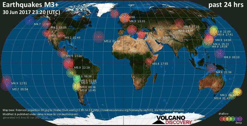 World map showing earthquakes above magnitude 3 during the past 24 hours on 30 Jun 2017