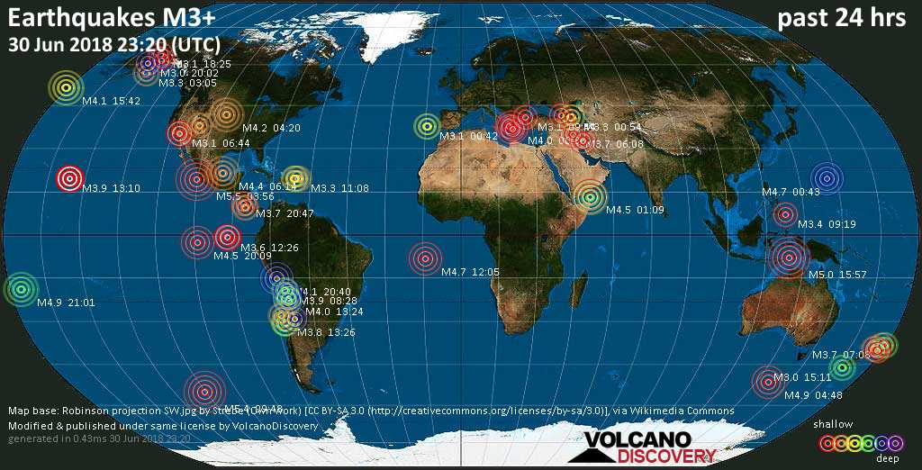 World map showing earthquakes above magnitude 3 during the past 24 hours on 30 Jun 2018