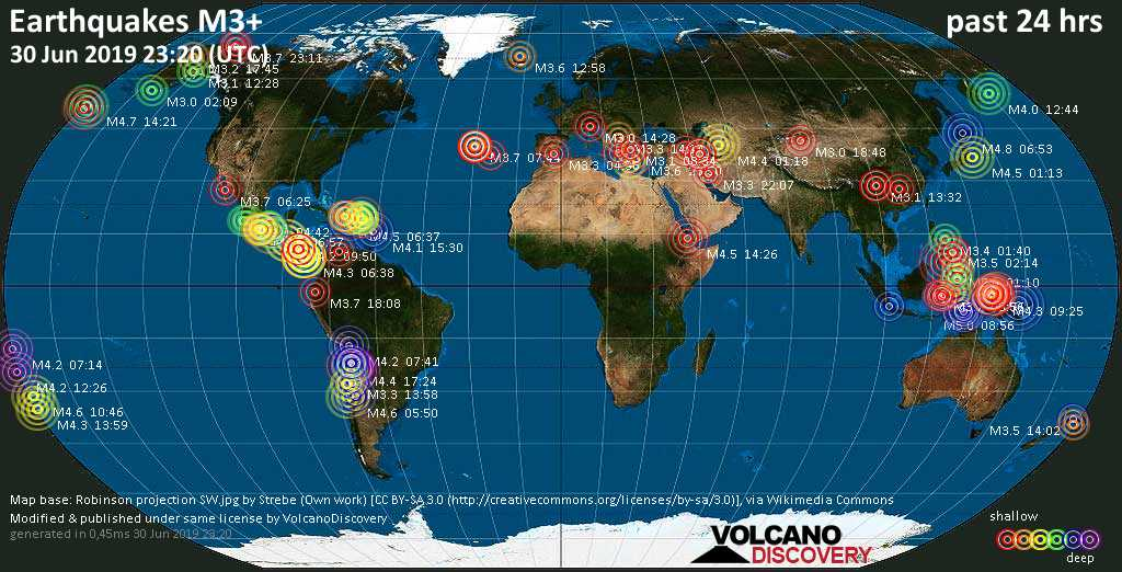 World map showing earthquakes above magnitude 3 during the past 24 hours on 30 Jun 2019
