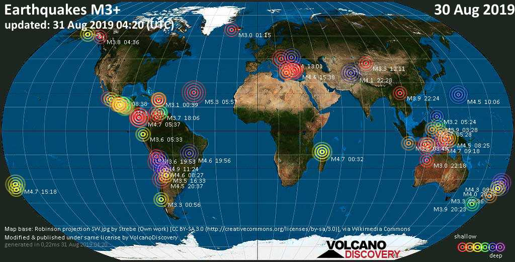World map showing earthquakes above magnitude 3 during the past 24 hours on 31 Aug 2019