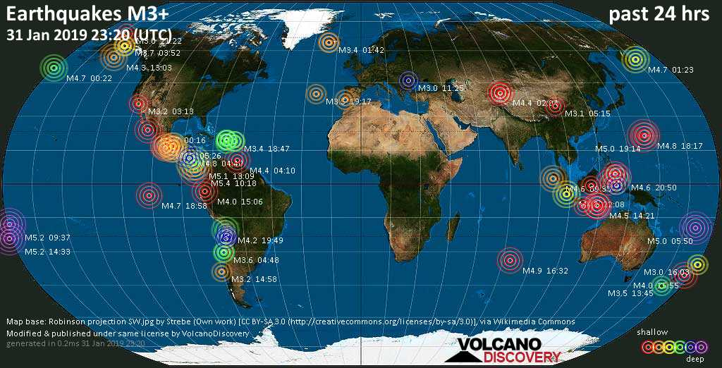 World map showing earthquakes above magnitude 3 during the past 24 hours on 31 Jan 2019