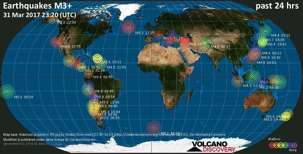 World map showing earthquakes above magnitude 3 during the past 24 hours on 31 Mar 2017