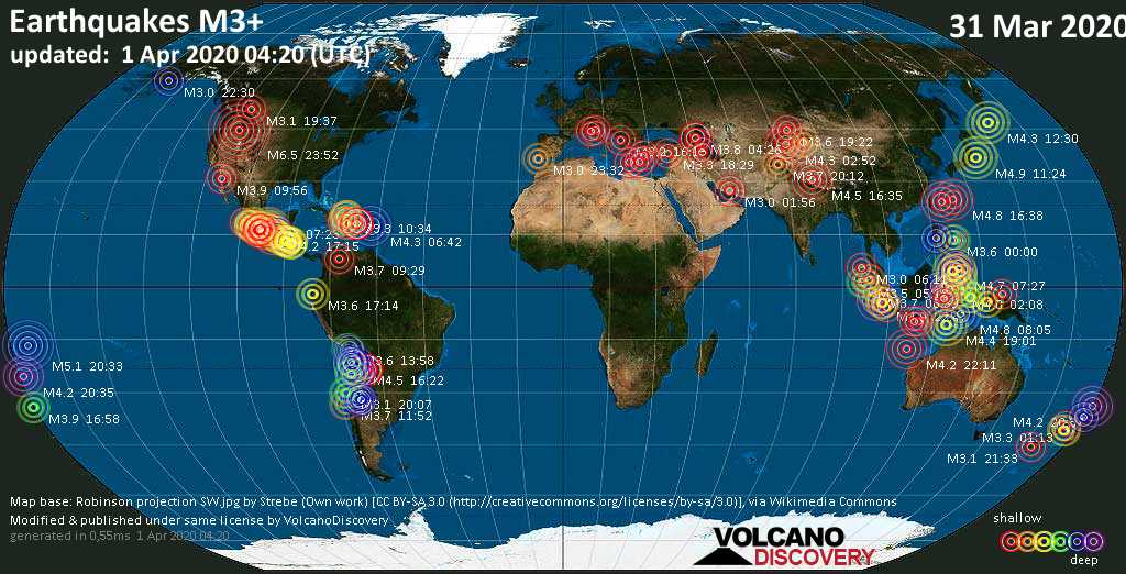 World map showing earthquakes above magnitude 3 during the past 24 hours on  1 Apr 2020