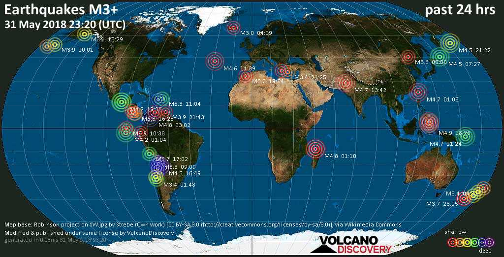 World map showing earthquakes above magnitude 3 during the past 24 hours on 31 May 2018