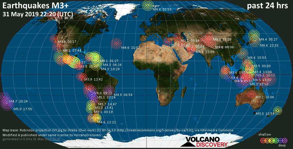 World map showing earthquakes above magnitude 3 during the past 24 hours on 31 May 2019