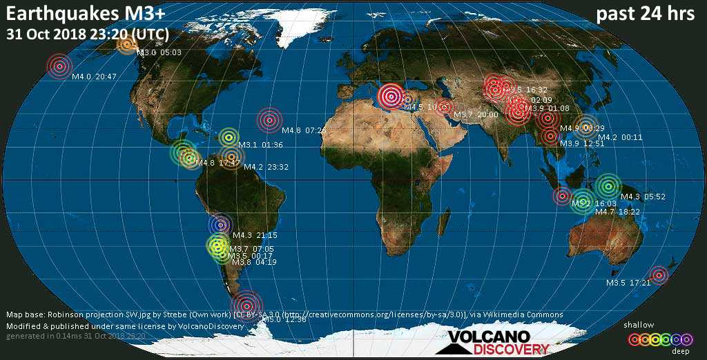 World map showing earthquakes above magnitude 3 during the past 24 hours on 31 Oct 2018